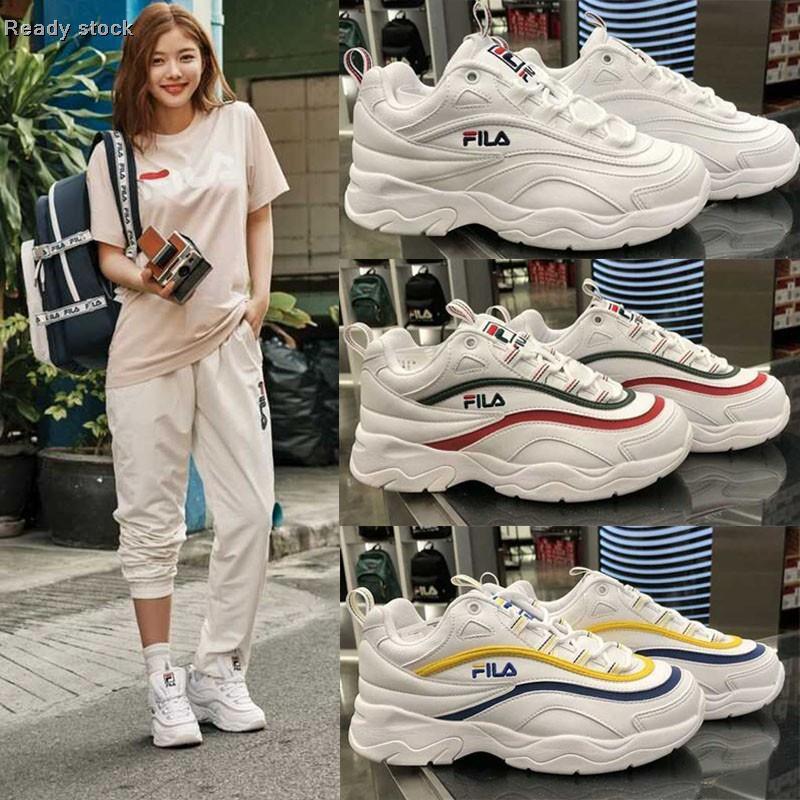 เกาหลีซื้อ FILA RAY Fila ชื่อร่วมกัน Jin Yuqi รองเท้าผ้าใบรองเท้าเก่ารองเท้าวิ่งผู้ชายและผู้หญิงรองเท้าคู่
