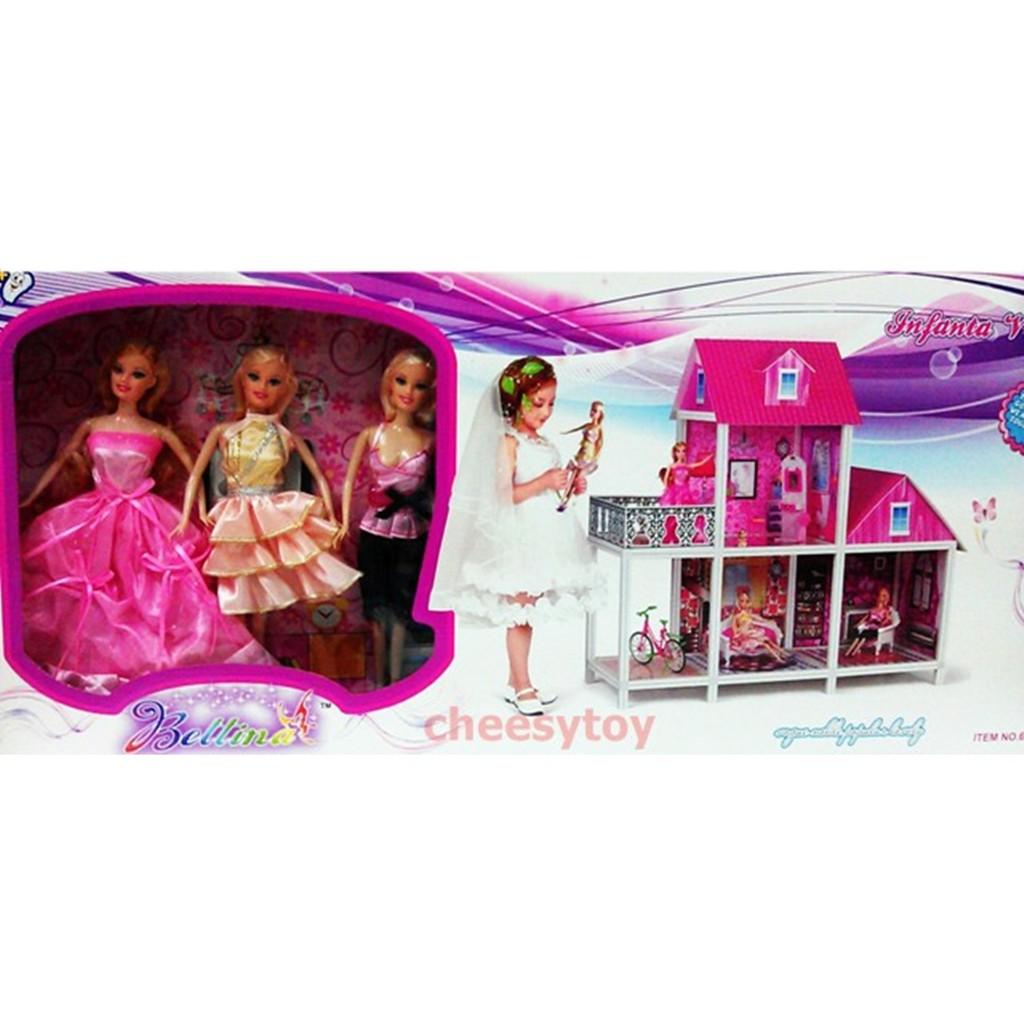 บ้านตุ๊กตา หลังใหญ่(มาก) พร้อมตุ๊กตาบาร์บี้ 3 ตัว