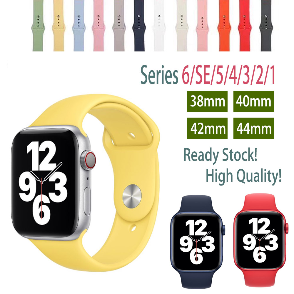 Apple Watch Strap Series 1/2/3/4/5/6/SE Soft Liquid Silicone 38mm 40mm 42mm 44mm Silicone Iwatch Band