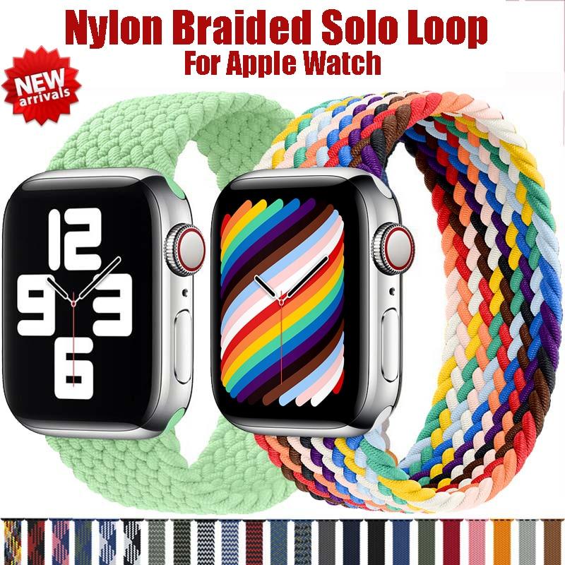 สายนาฬิกาข้อมือไนล่อนสําหรับ Apple Watch Band 6 Se 5 4 3 44 มม. 40 มม. 38 มม. 42 มม. สําหรับ Iwatch Series 6 5 4 3 2