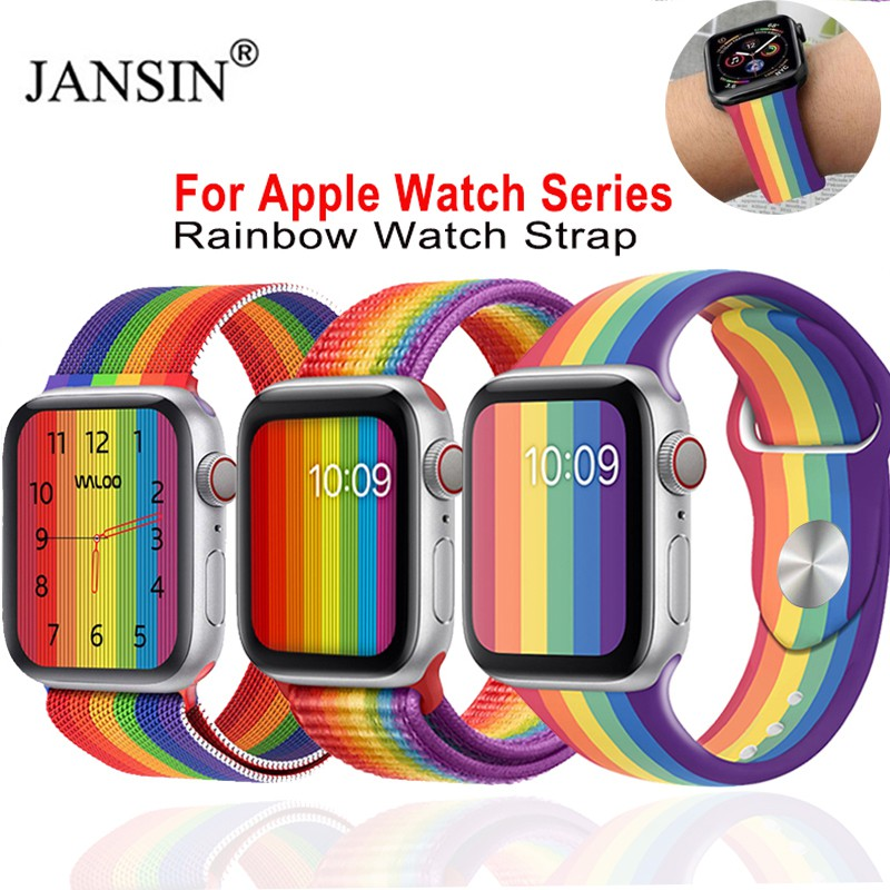 Rainbow Strap For Apple Watch band 44 MM 40MM iwatch band 38mm 40mm silicone watchband Bracelet Apple watch series 5 4 3 38 42 40 44 mm