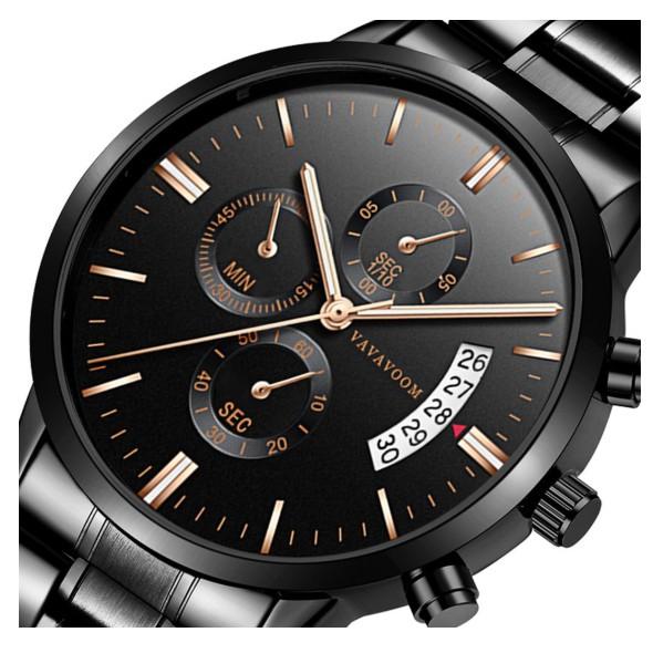 VAVA VOOM ธรุกิจ นาฬิกาข้อมือผู้ชายนาฬิกาผู้ชาย นาฬิกาข้อมือ กันน้ำ-เครื่องCasio สายเหล็กสแตนเลส สีดำ Men Watch Original