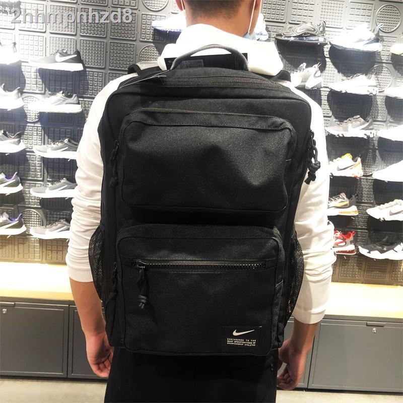 ✌✸Nike MAX AIR เบาะลมกระเป๋านักเรียนนักเรียนกีฬาเดินทางกระเป๋าเป้สะพายหลังคอมพิวเตอร์ชาย CK2668-010