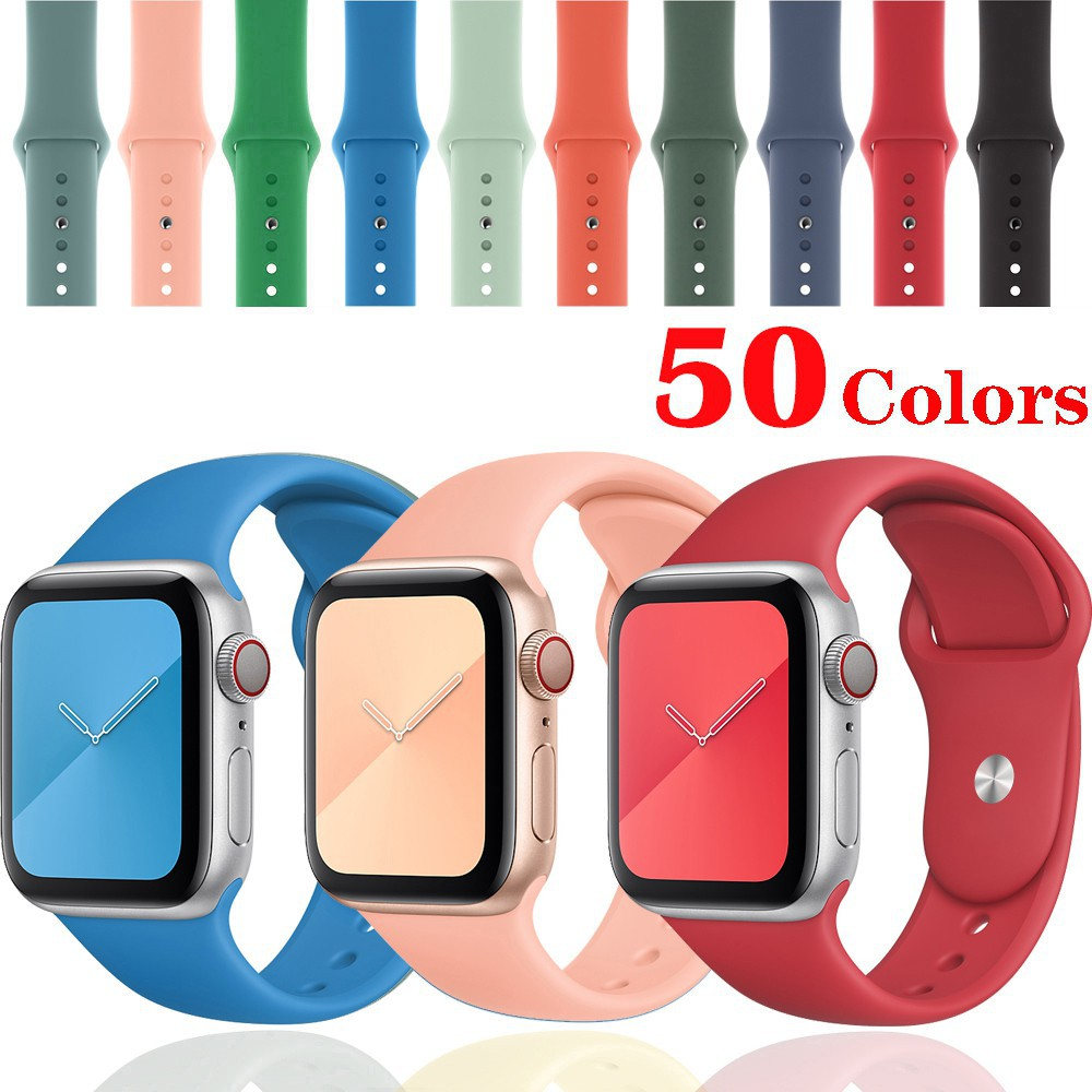 BR สายคล้องซิลิโคนสำหรับ Apple Watch 6 SE 5 4 Band 44 มม. 40 มม. iWatch Series 3 2 1 38 มม. 42 มม. สายนาฬิกาข้อมือ