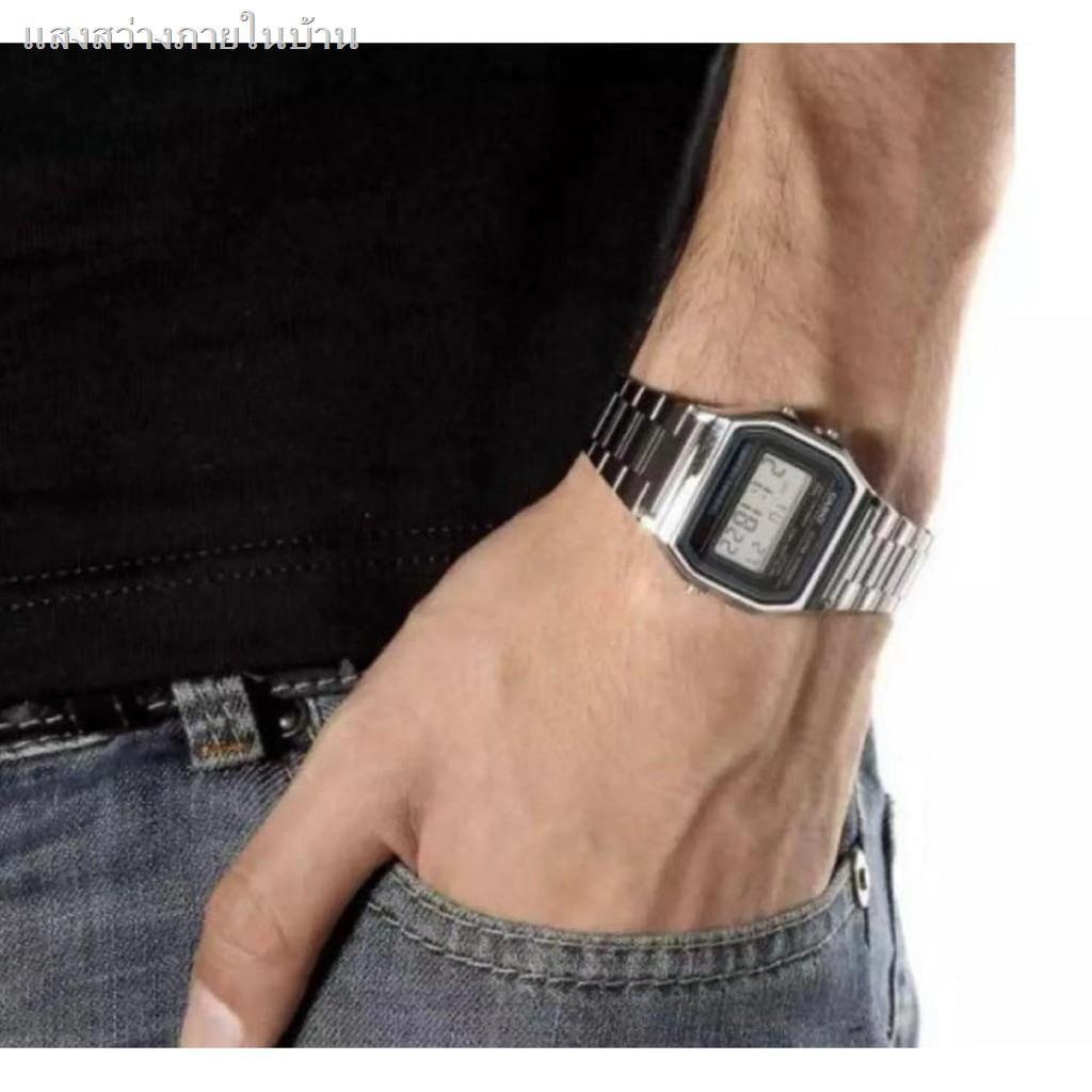 อุปกรณ์Casio นาฬิกาข้อมือผู้ชาย สายสแตนเลส รุ่น A158WA-1DF - สีเงิน