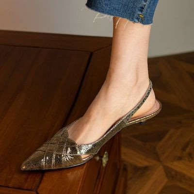 """✨🍑🍃  คัชชูรัดส้นสูง 1"""" รองเท้าคัชชูหัวแหลม รองเท้าส้นสูง แฟชั่น"""