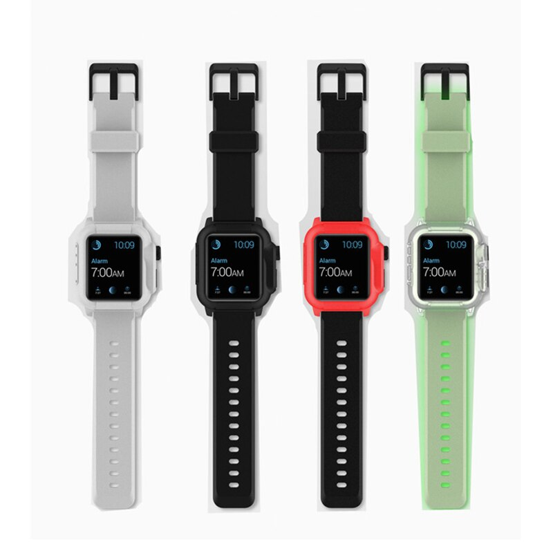 Luminous sports case + Apple watch strap, Iwatch 4,3,5,44mm / 40mm / 42mm waterproof ring case
