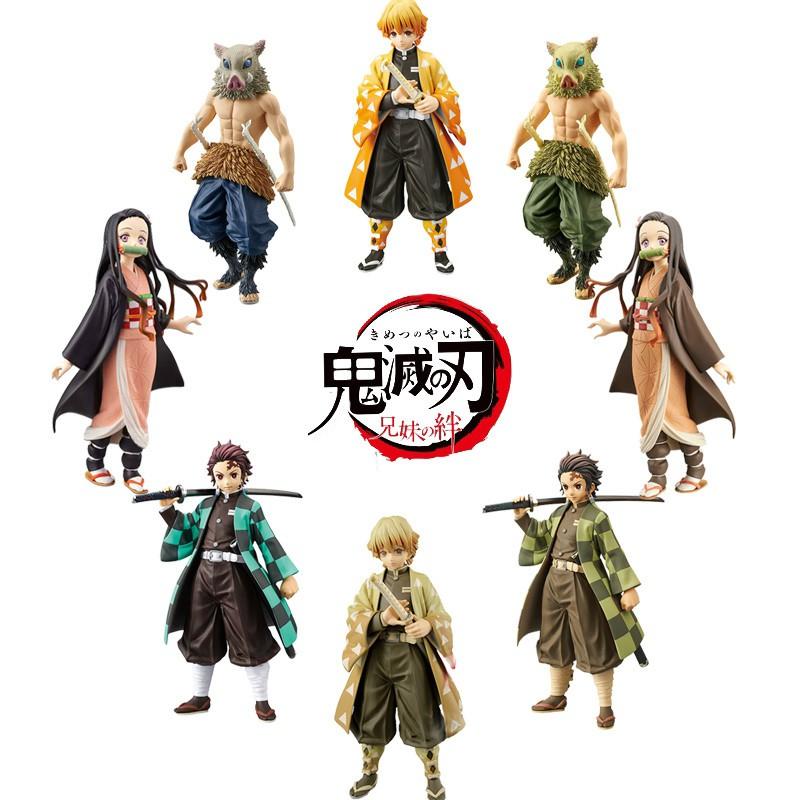 ดาบพิฆาตอสูร โมเดล Demon Slayer Tanjirou Nezuko Shinobu Kocho Anime โมเดลของเล่นพีวีซี ฟิกเกอร์ Kimetsu No Yaiba Agatsuma Zenitsu Giyu Tomioka Shinobu Kocho Kanao Tsuyuri Figure