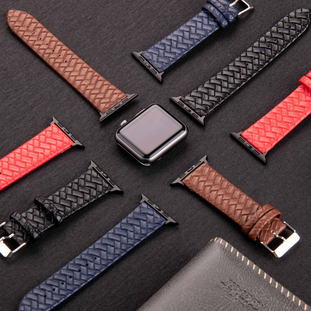 ☒☃◆สายนาฬิกาแอปเปิ้ล New Applewatch Series 6 5 4 3 2 1 SE Braided Loop Leather Apple Watch Band 44mm 40mm 42mm 38mm Brac