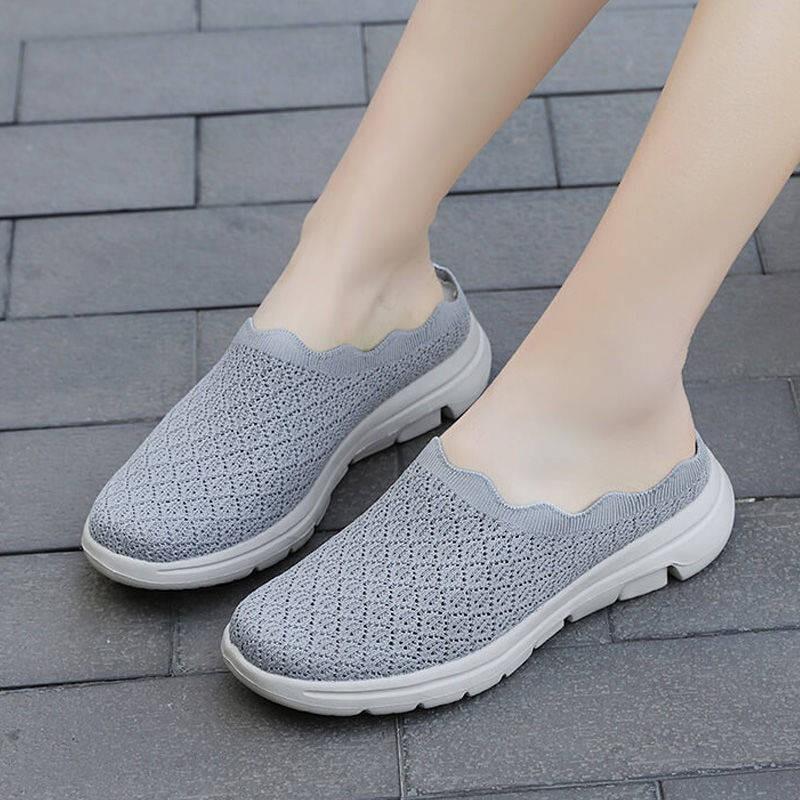 รองเท้าคัชชูเปิดส้น รองเท้าคัชชูเปิดส้นผู้หญิง Baotou รองเท้าแตะรองเท้าผู้หญิงเด็ก 2021 ใหม่ครึ่งพ่วงรองเท้าผู้หญิงครึ่ง