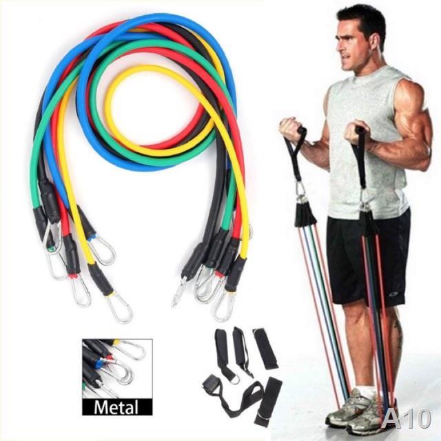 P ✕ยางยืดออกกำลังกาย รุ่นหัวตะขอใหญ่ Resistance band 11 pcs - ยางยืดสายแรงต้าน สร้างกล้ามเนื้อ ลดไขมัน เวท