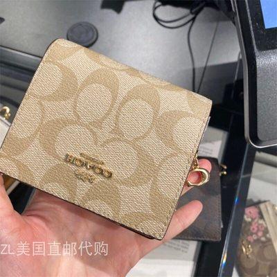 ⅾべคุณผู้หญิงZL US Direct Mail ซื้อ COACH ใหม่ผู้หญิงกระเป๋าสตางค์ใบสั้นผู้ถือบัตร