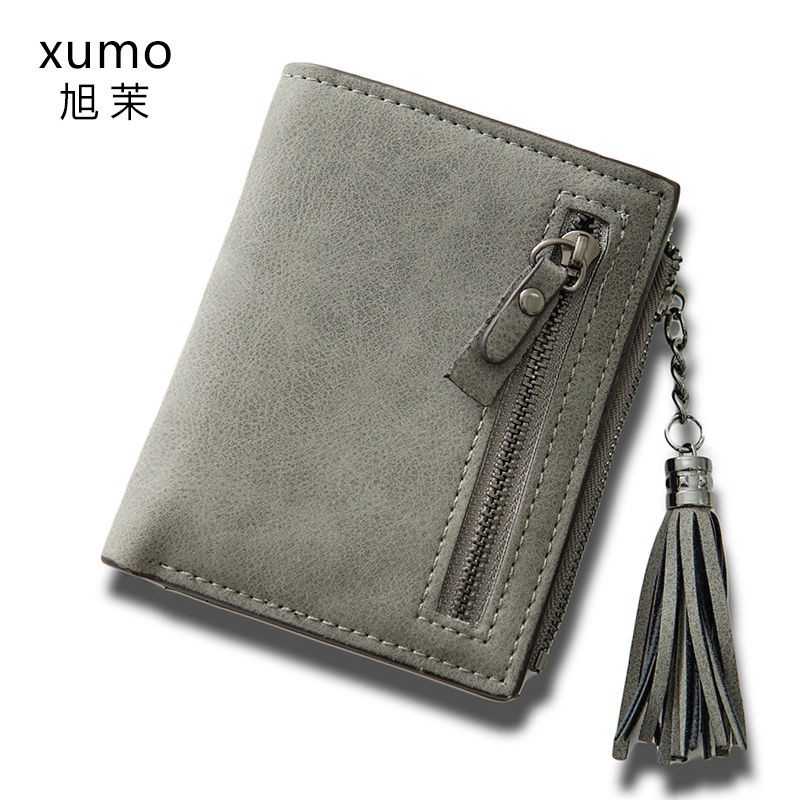 coach กระเป๋าคาดอกกระเป๋าสตางค์สุภาพสตร✈Xu Mo เวอร์ชั่นเกาหลีของกระเป๋าสตางค์ใบเล็กใหม่หญิงแฟชั่นสั้นย้อนยุคพู่ซิปนักเร