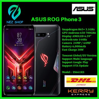 "(พรีออร์เดอร์) 📱💯% Asus ROG Phone 3 EU Version Snapdragon 865+ Plus 3.1GHz AMOLED 6.59"" 144Hz 24MP/64MP"
