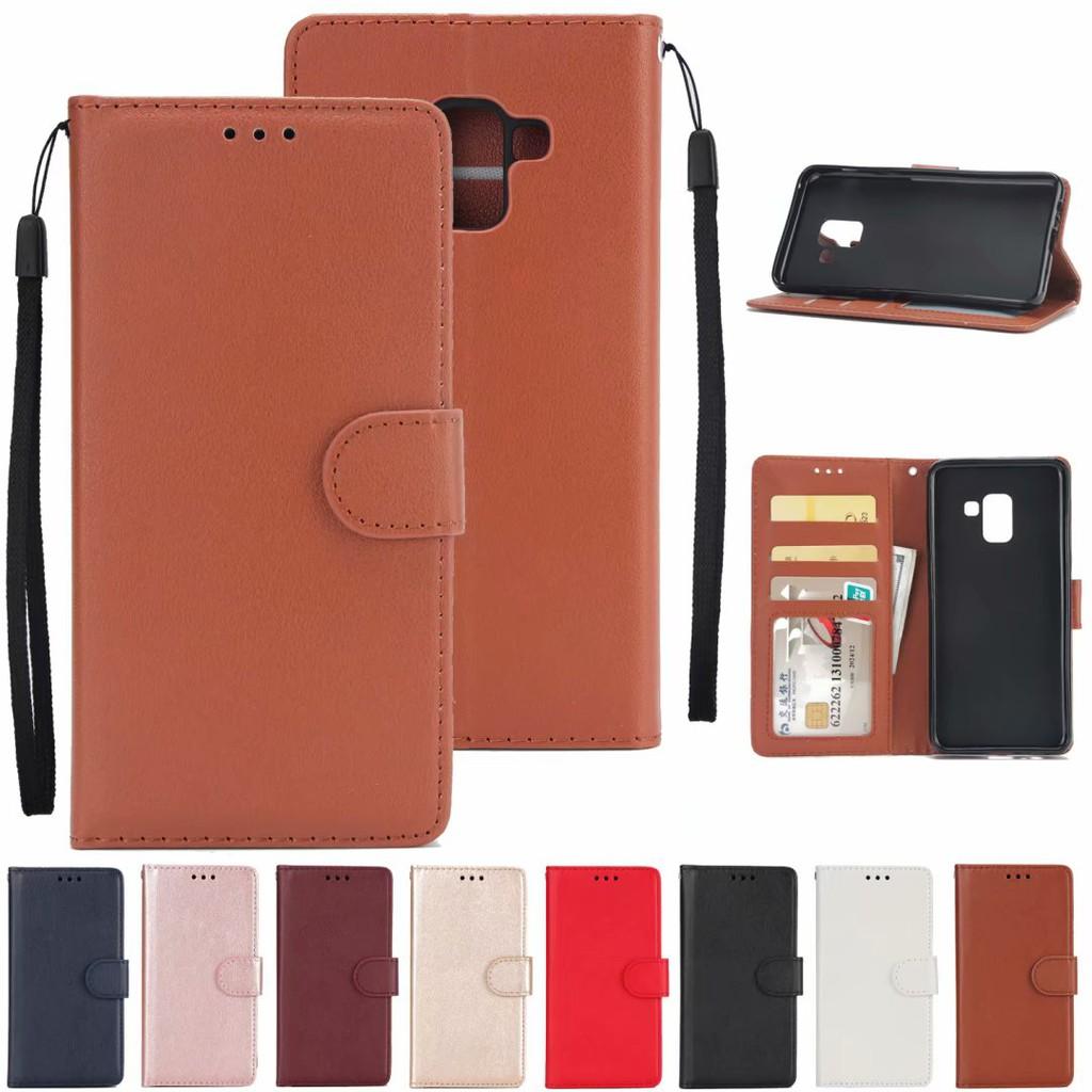เคส case Samsung Galaxy J4 J6 J8 A5 A6 A7 A8 Plus A9 J2 Pro 2018 Flip Leather phone Case เคสโทรศัพท์หนังฝาพับพร้อมช่องใส่บัตรสํา