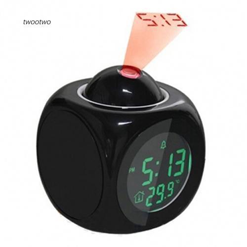 Black Multifunction LCD Time/&Temp Display Digital Talking Projection Alarm Clock