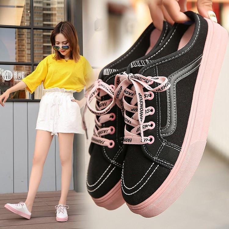 รองเท้าคัชชู﹢ ผู้หญิงครึ่งแผ่นรองเท้าผ้าใบสไตล์เกาหลีขี้เกียจรองเท้าแบนสำหรับเด็กผู้หญิง