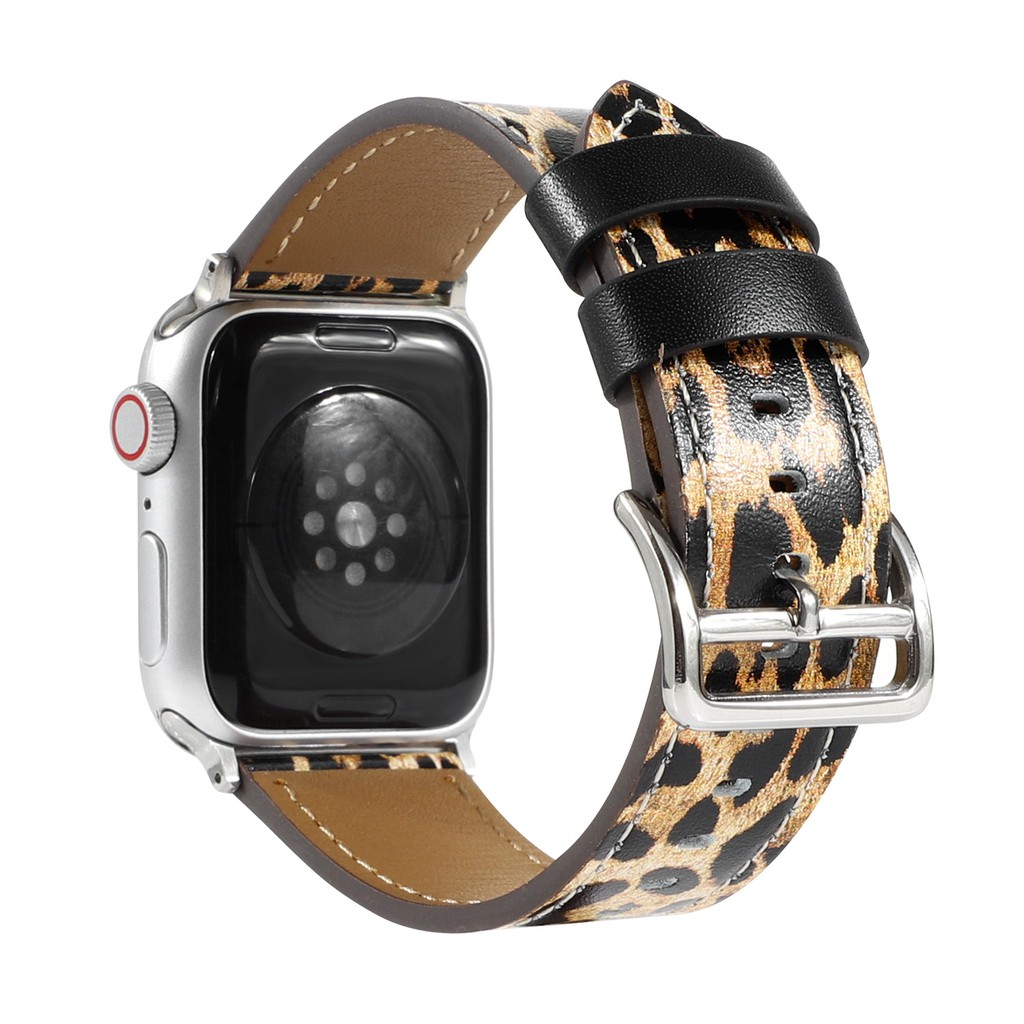 สาย applewatch Leather Material สายนาฬิกา applewatch series 6 5 4 3 2 1 SE with leopard printing strap