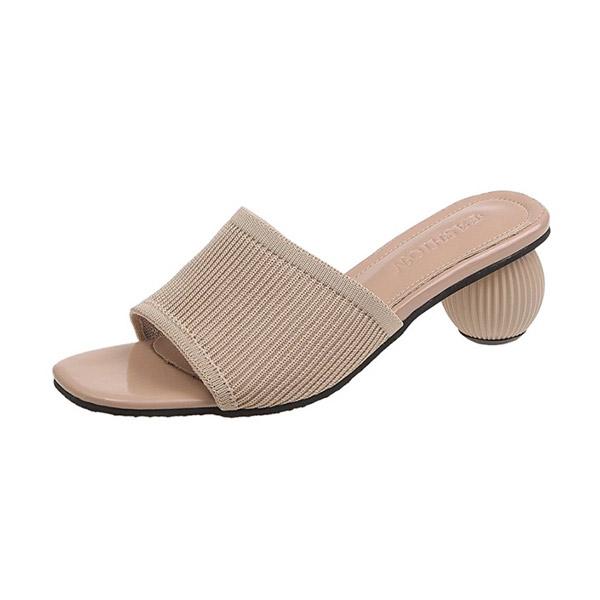 Soju shoes รองเท้าไหมพรมถักส้นกลม