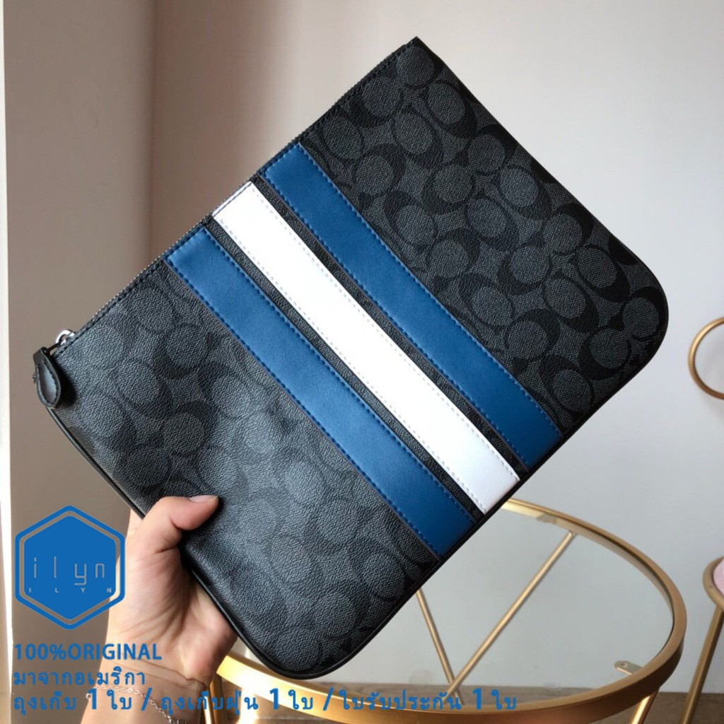 กระเป๋าสตางค์ใบสั้น◇ஐ◕New Coach 26071 คลัทช์แคนวาสหนังผู้ชาย กระเป๋าข้อมือ ถุงสิริ กระเป๋าเงินนำเข้า กระเป๋าสตางค์ กระเป