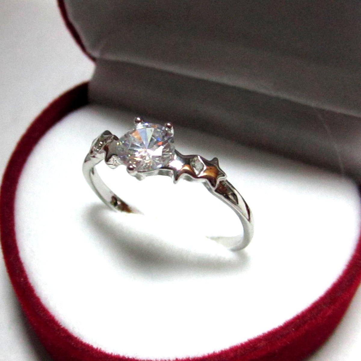 TANITTgemsแหวนทองคำขาวประดับเพชรCZขนาด0.8กะรัตราคาโรงงาน size 8.5