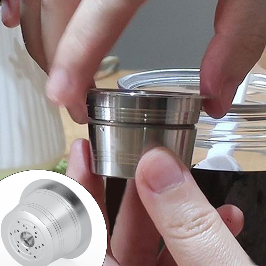 สแตนเลสกาแฟแคปซูลหม้อแบบเติมได้แคปซูลกาแฟแบบเติมได้พร้อมแปรงทรงช้อนสำหรับ K-ค่าเครื่องทำกาแฟเอสเปรสโซ่ gEoI