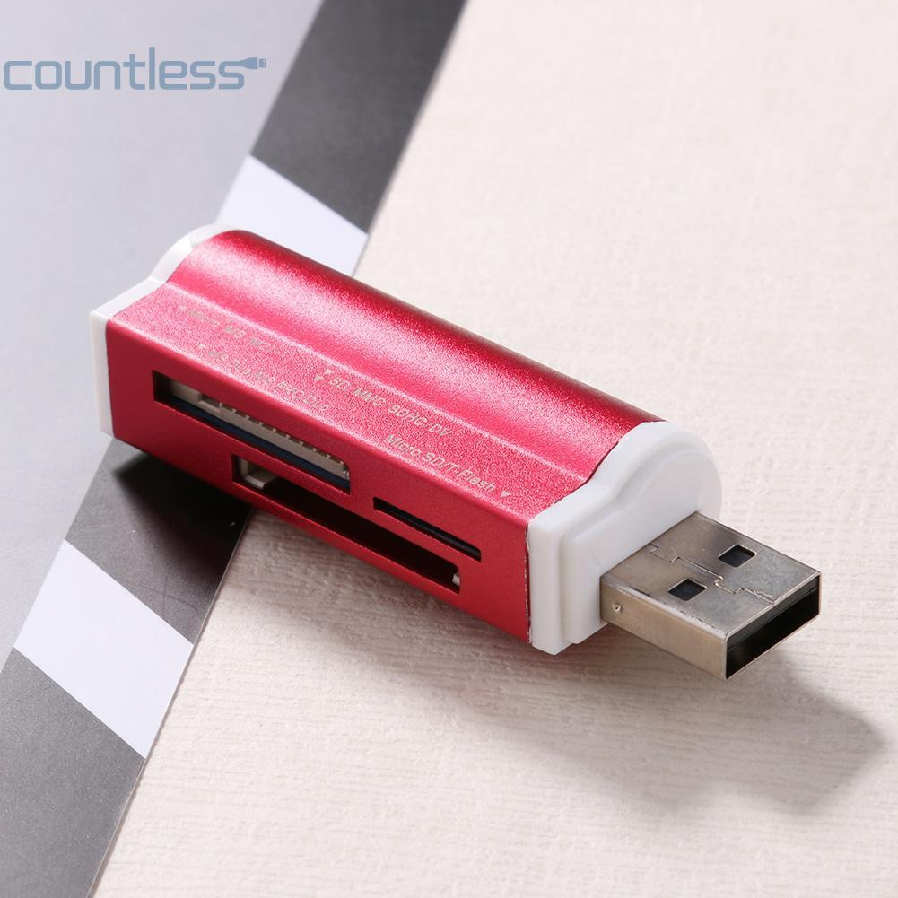 4 In 1 USB2.0 Memory Card Reader High Speed External for SDHC//TF//MS//M2 Black