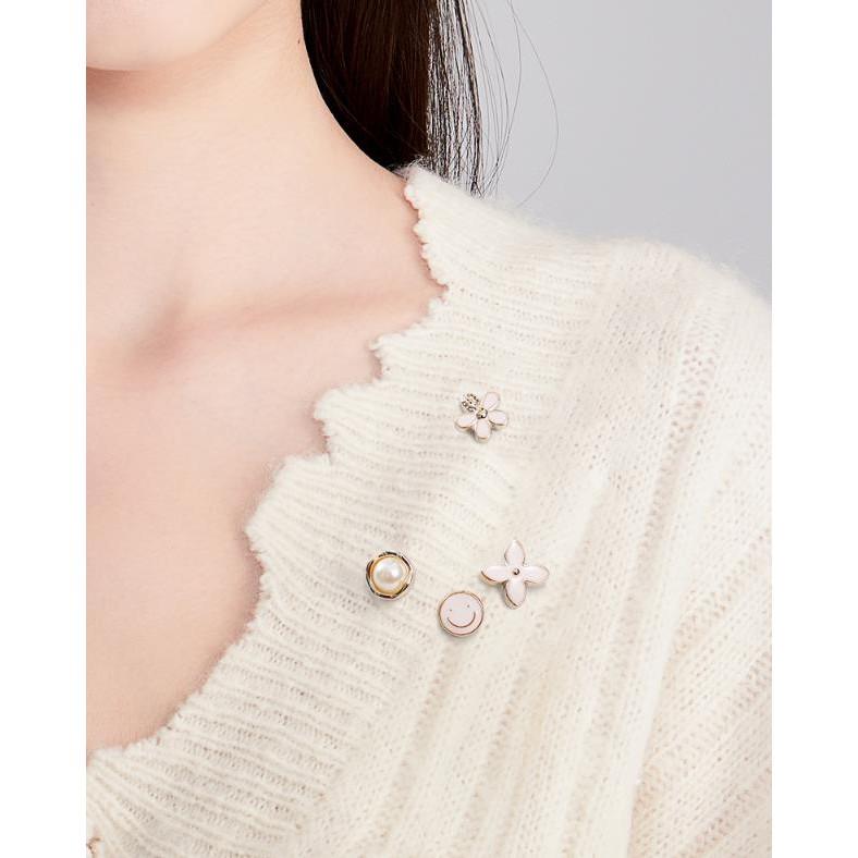 1PC เสื้อเข็มกลัดหัวเข็มขัดมุกปุ่มคอเสื้อผู้หญิงกระดุมข้อมือตกแต่ง