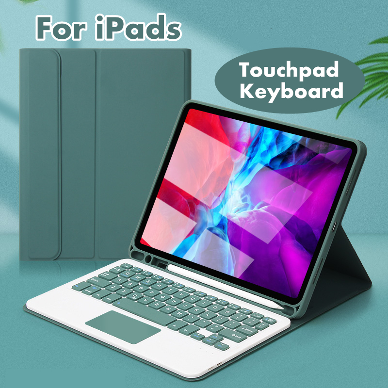For Apple IPad Smart Touchpad Keyboard Case Built-in Pencil Slot For Air 2/3/4 10.2 IPad 7th 8th Generation 9.7 IPad 5th 6th Generation IPad Pro9.7 Pro10.5 Pro11 Auto Sleep Awake Case Cover
