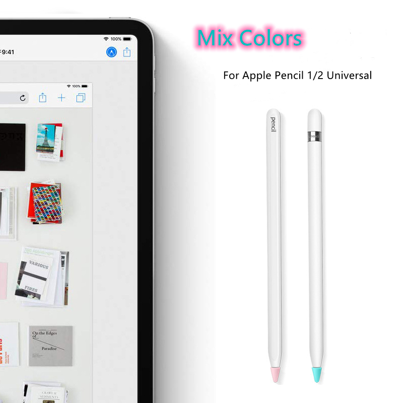 [8 pcs/box]8pcs Silicone Replacement Tip Case for Apple Pencil 1 2 Touchscreen Stylus Pen Case Nib Protective Cover Skin for Apple Pencil
