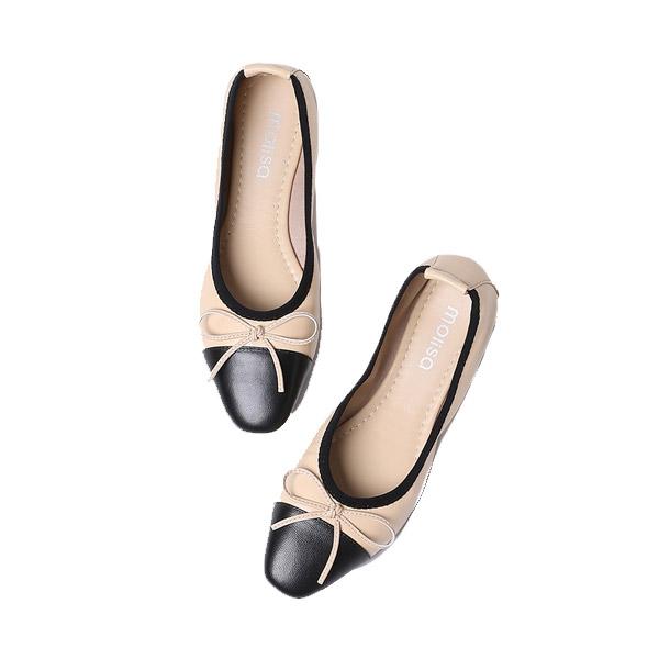 MOLISA (ฟรีรองเท้าผ้าใบ) Mave Shoes รองเท้าหนังคัชชูเเฟชั่น ส้นเตี้ย สำหรับผู้หญิง หนังนิ่มใส่สบาย รองเท้า casual shoes