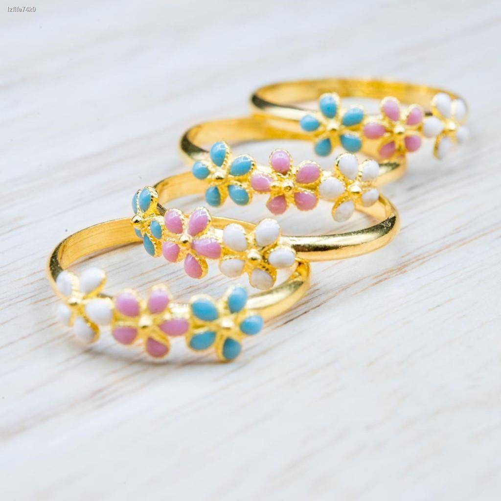 ราคาต่ำสุด❆⭐️ แหวนทองแท้ลายดอกไม้ลงยาเชียงใหม่ น้ำหนักครึ่งสลึง [ผ่อนได้]