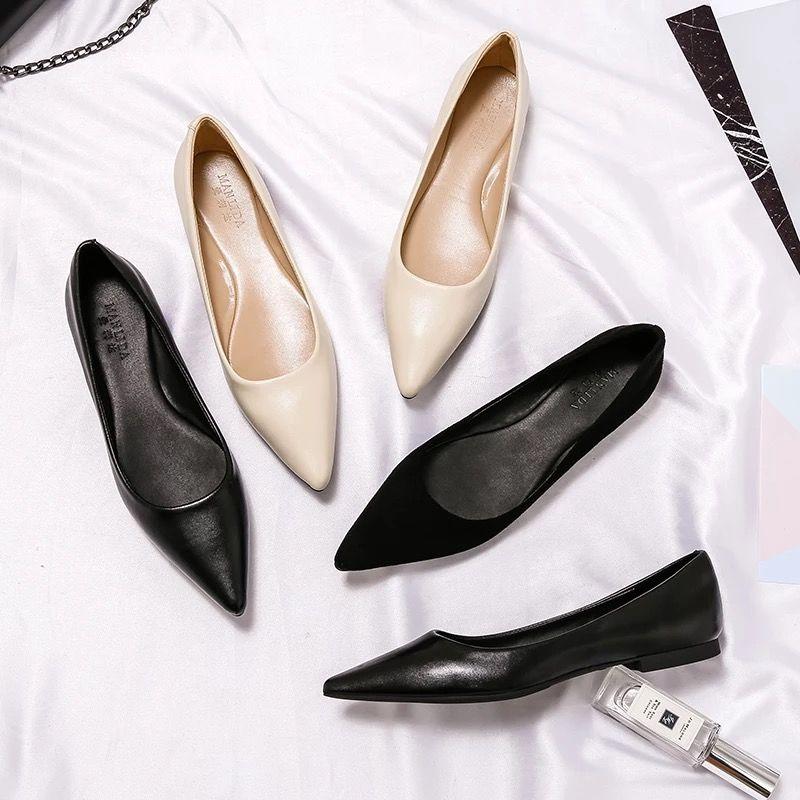 รองเท้าคัชชูหัวแหลม 2019ใหม่ชี้รองเท้าแบนหญิงปากตื้นรองเท้าเดียวสีดำป่ารองเท้าทำงานมืออาชีพหญิงสีดำรองเท้าผู้หญิงขนาดใหญ