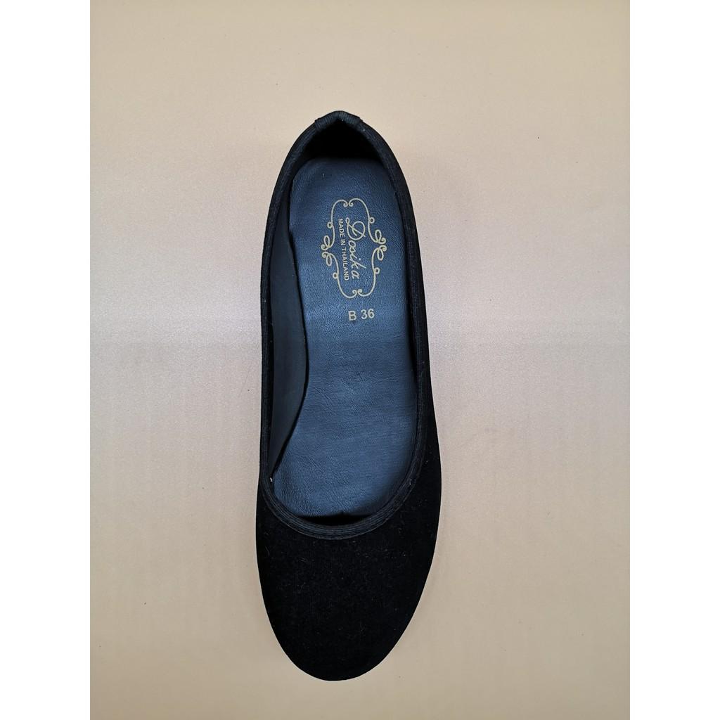 📣✅💯✲รองเท้าดำหนังกำมะหยี่ พื้นดำ รองเท้าคัทชู รองเท้าพื้นเรียบ รองเท้าใส่ทำงาน รองเท้าคัชชู รองเท้านักศึกษา รองเท้าส้น