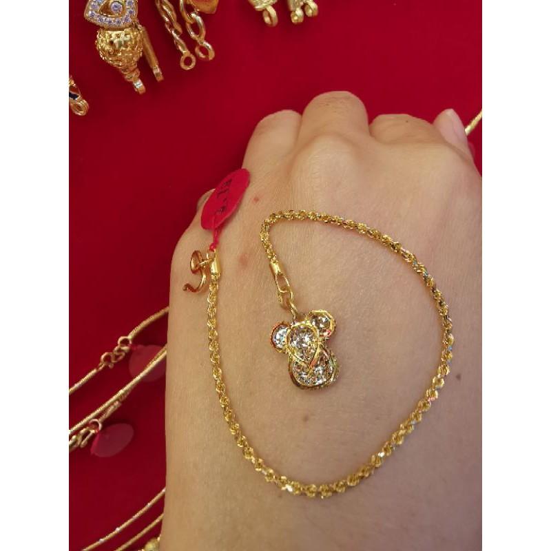 ซืัอเฮงใส่ดี สร้อยมือทองแท้ 96.5%  2สี น้ำหนัก 1 สลึง ยาว 16-16.5cm ราคา 8,400บาท