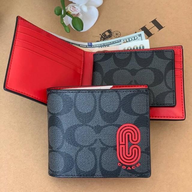 ◙◑▩แท้💯🇺🇸 COACH กระเป๋าสตางค์ ใบสั้น 3-IN-WALLET IN SIGNATURE