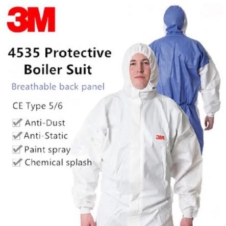⚡️PPE⚡️ชุดป้องกันสารเคมี  3M 4535 ขาว/ฟ้า ชุดป้องกันฝุ่น ชุดป้องกันสารเคมีและฝุ่นละออง ชุดป้องกันไวรัสได้มาตรฐาน 🦠