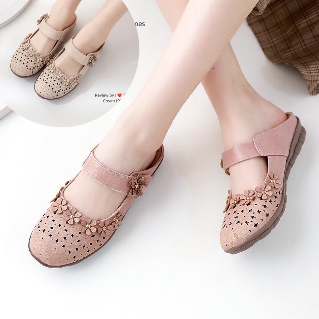 รองเท้าเพื่อสุขภาพผู้หญิง ไซส์36-41 นุ่มเบาใส่สบาย คัชชู เปิดส้น เปิดท้าย หนังนิ่ม น้ำหนักเบา ไซส์พิเศษ Tj Shoes 90192