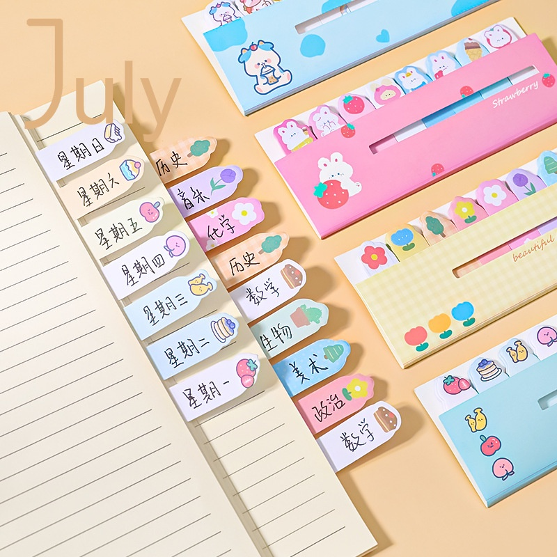 【July】💖Cartoon animals lined up sticky notes💖Each 8 styles are not duplicated, easy to write, stationery and books that can be pasted repeatedly