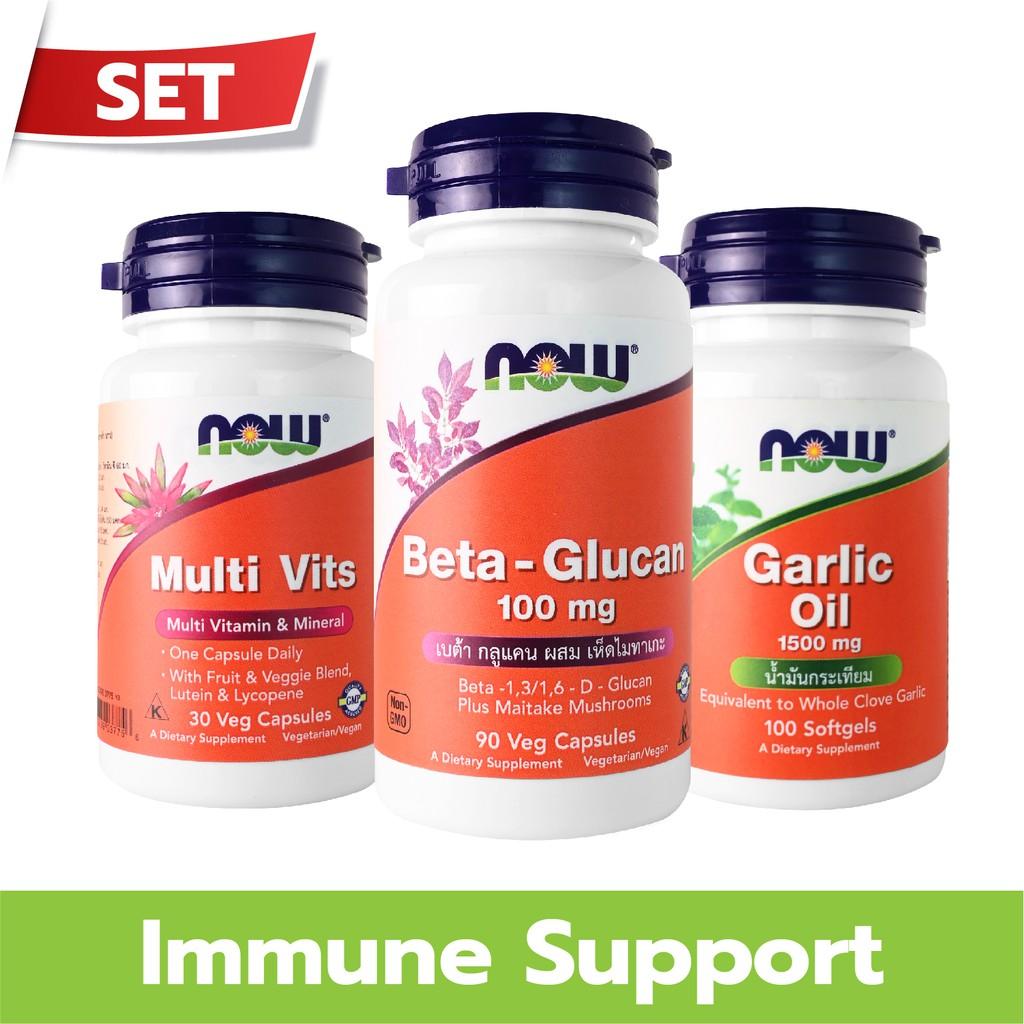 NOW Foods Set Immune System (Beta-1,3/1,6-D-Glucan + Garlic Oil + Multi Vits )