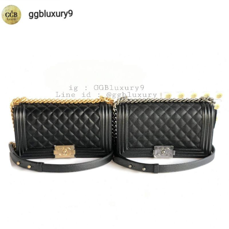 แบรนด์แท้💯 กดสั่งได้เลยลงไว้ตามสต็อกจริงค่ะ Chanel Boy10 / 8 Caviar / Lamb RHW / GHW Full set Price : 199999฿