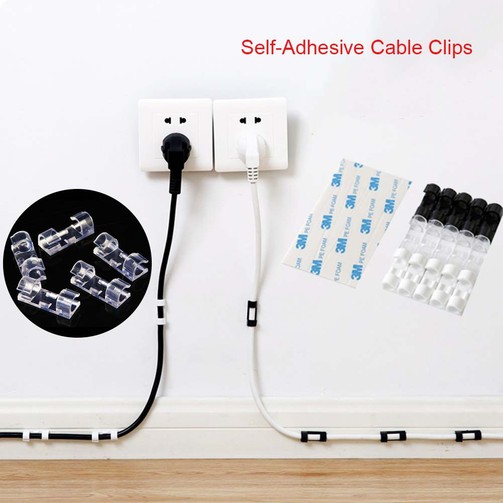 Self-Adhesive Cable Clips Organizer Drop Wire Holder Cord Management,Pack of 40
