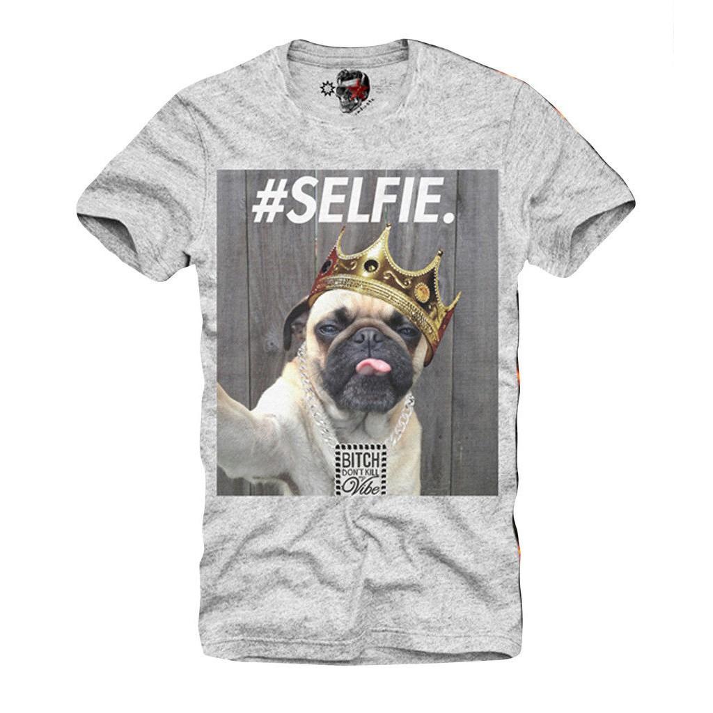 3X Pet Selfie Pug T-Shirt Grey