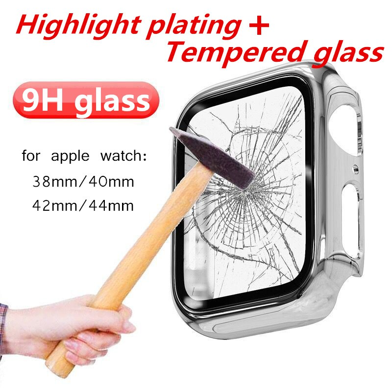 Hot! Apple Watch 5 4 3 2 1pc Waterproof Plating Case 44mm 40mm iwatch 5 Band 42mm 38mm Bumper Cover Screen Protector