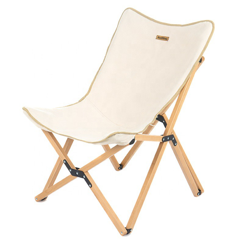 Naturehike Outdoor Wooden Folding Chair (White)