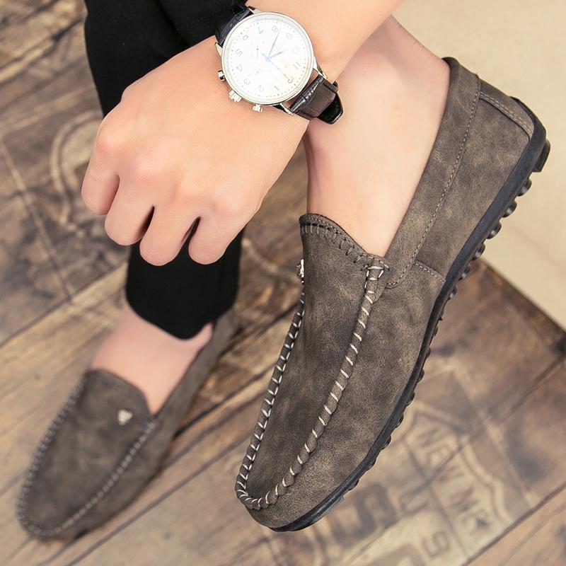 Shoes Man รองเท้าโลฟเฟอร์หนัง สีดำ สำหรับผู้ชาย คัชชูผู้ รองเท้าหนัง เกาหลี รองเท้าผู้ แบบ สวม ไม่มี ส้น ผูกเชือก เสื้อผ้าแฟชั่น 39-44