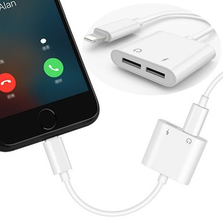 Review 2in1 Dual Lightning Adapter Charging Splitter Audio Cable For iPhone X 8/7 Plus