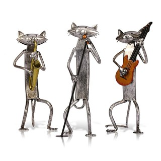 TOOARTS Metal Sculpture A Playing Guitar Cat Home Furnishing Articles Handicrafts pYMD