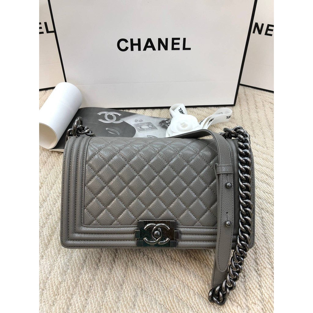 CHANEL BOY CAVIAR LEATHER