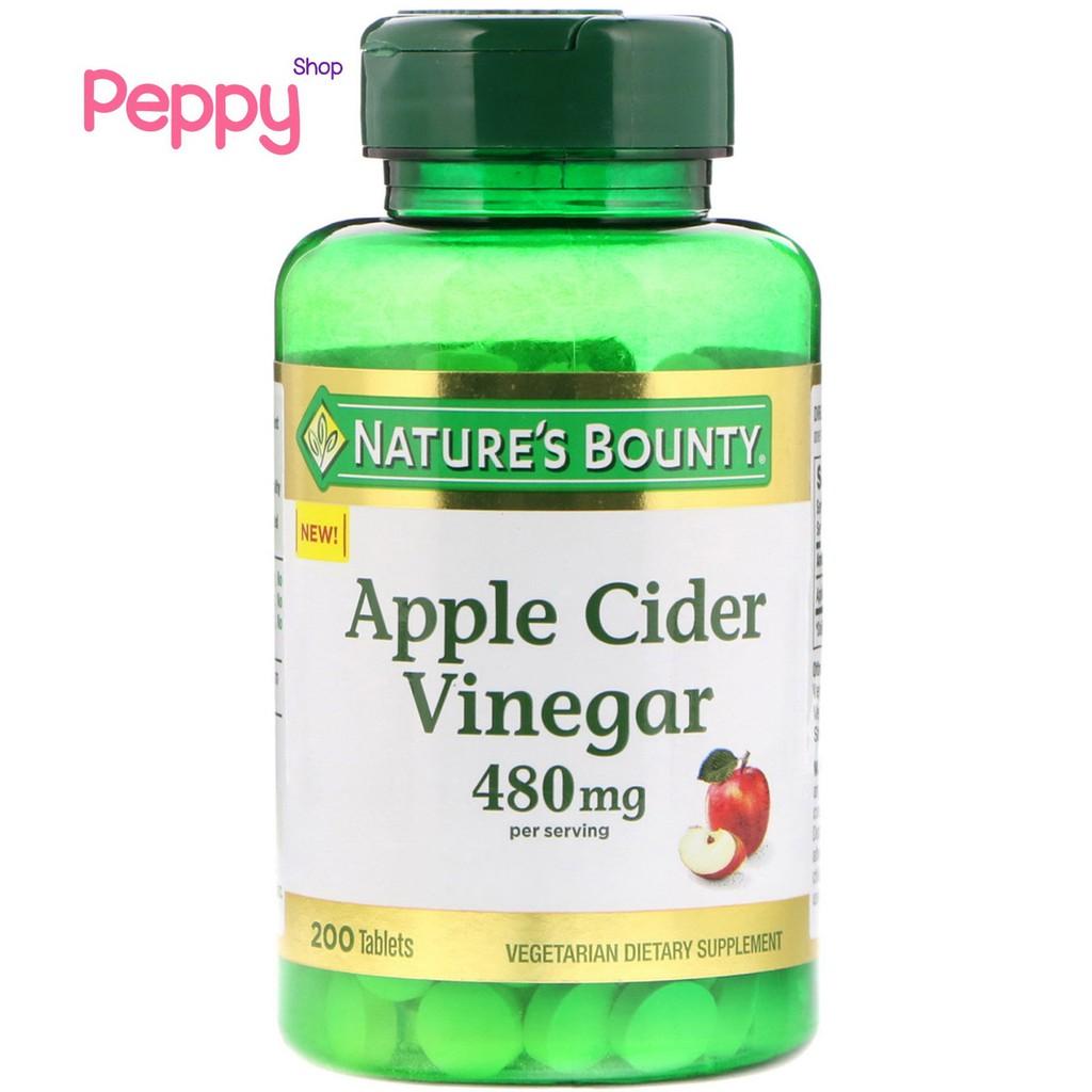 Nature's Bounty Apple Cider Vinegar 480 mg 200 Tablets แอปเปิ้ลไซเดอร์วีนีการ์ 200 เม็ด